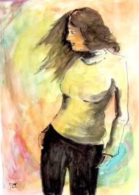 Jeune femme au pull jaune / Encre et aquarelle / 50 x 70