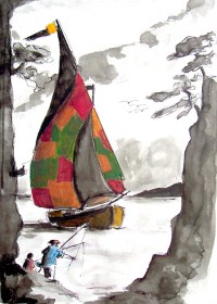 Retour du voilier / Encre et gouache / 50 x 70