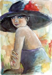 Jeune femme au chapeau / Acrylique / 50 x 70