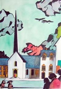 Place de l'église / Encres / 50 x 70