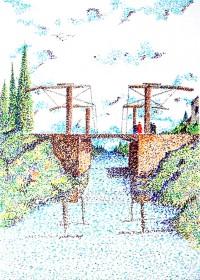 Le pont / pointillé aux feutres / 50 x 70