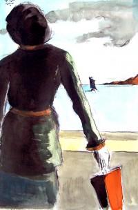 Estivante à l'ombrelle / Encre et aquarelle / 50 x 70