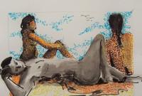 Trio à la plage / Encre et feutres couleurs / 70 x 50
