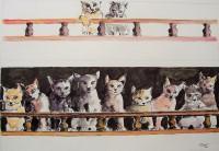 La galerie des chats / Encre et aquarelle / 70 x 50