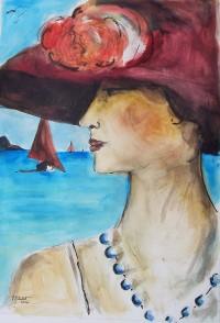 Femme au chapeau rouge / Aquarelle / 50 x 70