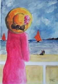 Femme à la robe rouge / Aquarelle / 50 x 70