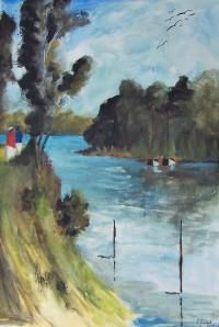 Bord de rivière / Aquarelle / 50 x 70