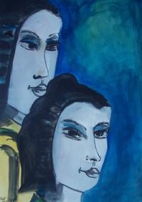 Couple de japonaises / Aquarelle / 50 x 70