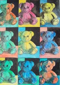 Oursons à la Warhol / Aquarelle etencre / 50 x 70