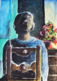 Femme assise de dos / Aquarelle / 50 x 70