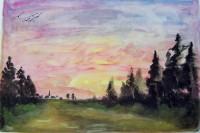 Paysage au crépuscule / Aquarelle / 70 x 50