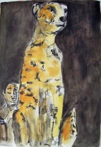 Le léopard et l'enfant / Aquarelle et encre / 50 x 70