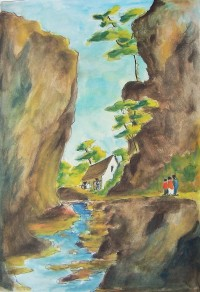 Le ruisseau / Aquarelle / 50 x 70