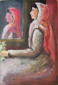 Femme assise à la cape rouge / Aquarelle / 50 x 70