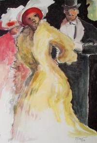 Au cabaret / Aquarelle et encre / 50 x 70