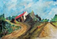 La maison sur la butte / Aquarelle et encre / 70 x 50