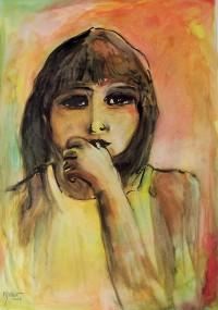 Jeune fille au pouce / Aquarelle / 50 x 70