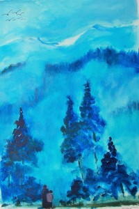 La forêt bleue / Acrylique / 50 x 70