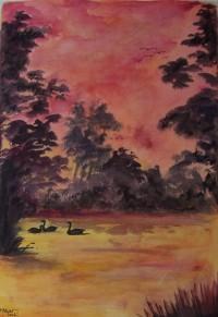 L'étang / Aquarelle et encre / 50 x 70