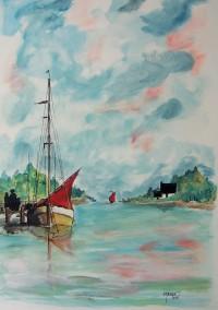 Au ponton / Aquarelle / 50 x 70