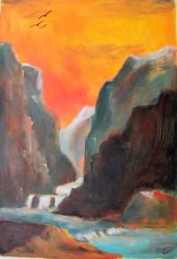 Cascades de montagne / Acrylique / 50 x 70