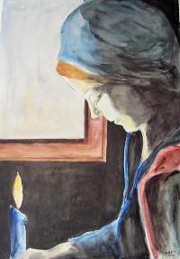 Jeune femme à la bougie / Aquarelle / 50 x 70