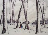 Promenade hivernale / Encre et aquarelle / 70 x 50