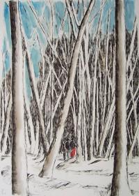 Promenade forestière / Encre et aquarelle / 50 x 70