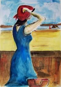 La robe bleue / Aquarelle / 50 x 70