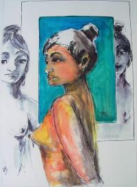 Nus vis à vis / Encre et aquarelle / 50 x 70