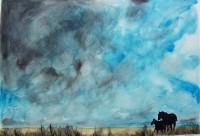 Nature aux chevaux / Aquarelle / 70 x 50