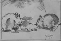 Les rats au déjeuner /Encre / 40 x 30