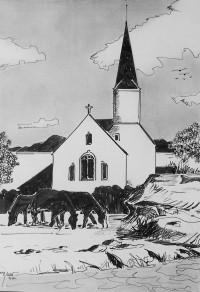 Herbage au pied de l'église / Encre / 30 x 40