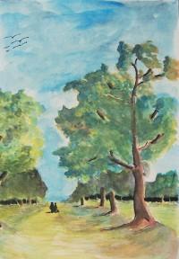 Promenade champêtre /Aquarelle et encre / 30 x 40