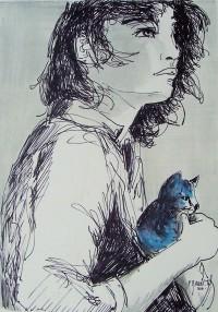 Jeune fille au chat bleu / Encre et aquarelle / 30 x 40