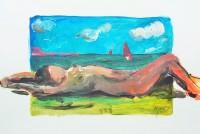 Sur la plage / Acrylique / 40 x 30