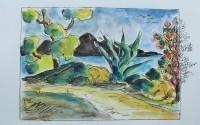 Jardin méditerranéen / Aquarelle et encre / 40 x 30