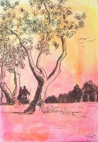 Couple a l'abri des arbres / Encre et aquarelle / 30 x 40
