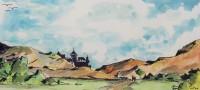 Le château / Aquarelle et encre / 40 x 30