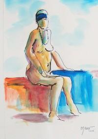 Nu assis au bandeau bleu / Aquarelle / 30 x 40