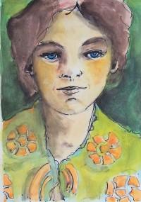 Portrait à la robe fleurie / Aquarelle / 30 x 40