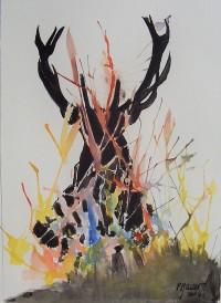Le cerf caché / Encre et aquarelle / 30 x 40