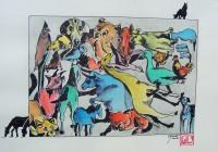 Animalerie / Aquarelle et encre / 40 x 30