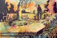 Sortie du jardin / Encre et aquarelle / 70 x 50
