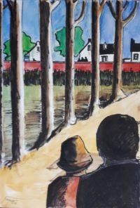 A la lignée des arbres / Aquarelle et encre / 50 x 70
