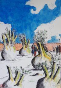 Le parc fenouil /Aquarelle et encre / 50 x 70
