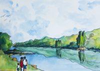 Au bord du fleuve / Aquarelle / 70 x 50