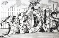 Jardins / Encre / 70 x 50