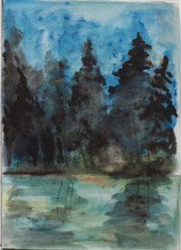 L'étang forestier / Aquarelle / 50 s 70