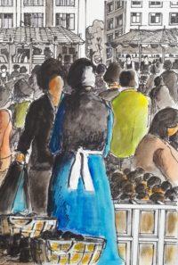 Au marché / Encre et aquarelle / 50 x 70
